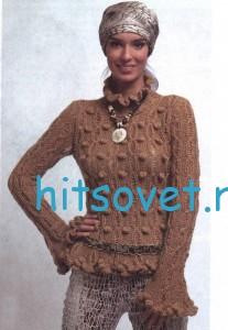 Вязаный пуловер с шишечками