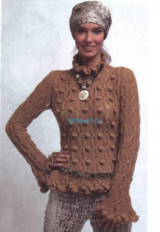 Вязание пуловера с шишечками и воланами