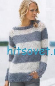 Полосатый пуловер спицами из мохера