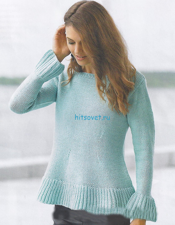 Вязание пуловера с баской