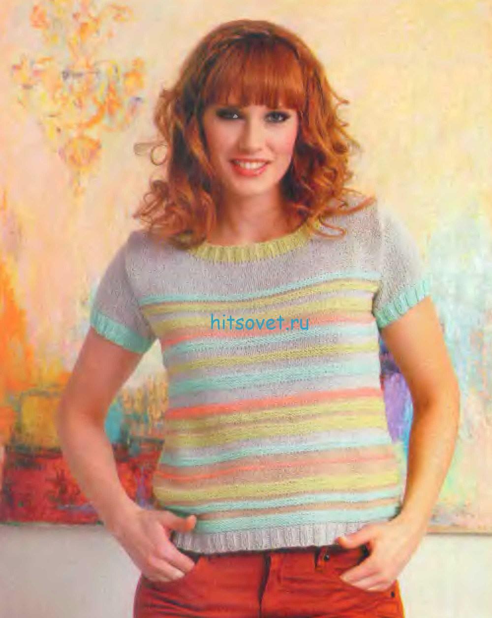 Вязание пуловера в разноцветную полоску