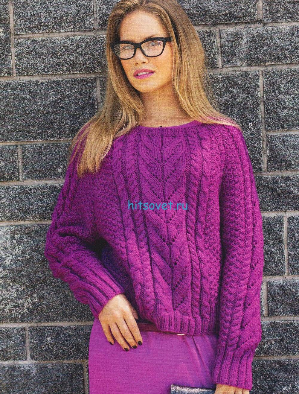 Вязаный пуловер цвета фуксии