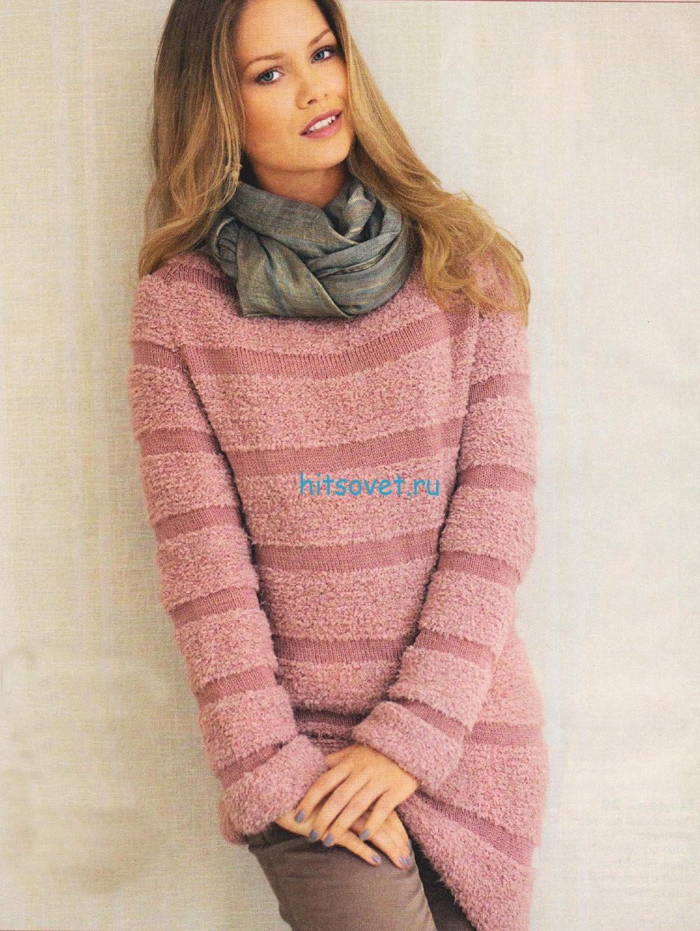 Женский пуловер спицами в полоску
