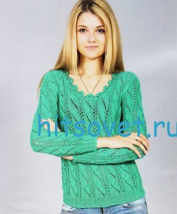 Ажурный вязаный пуловер зеленого цвета