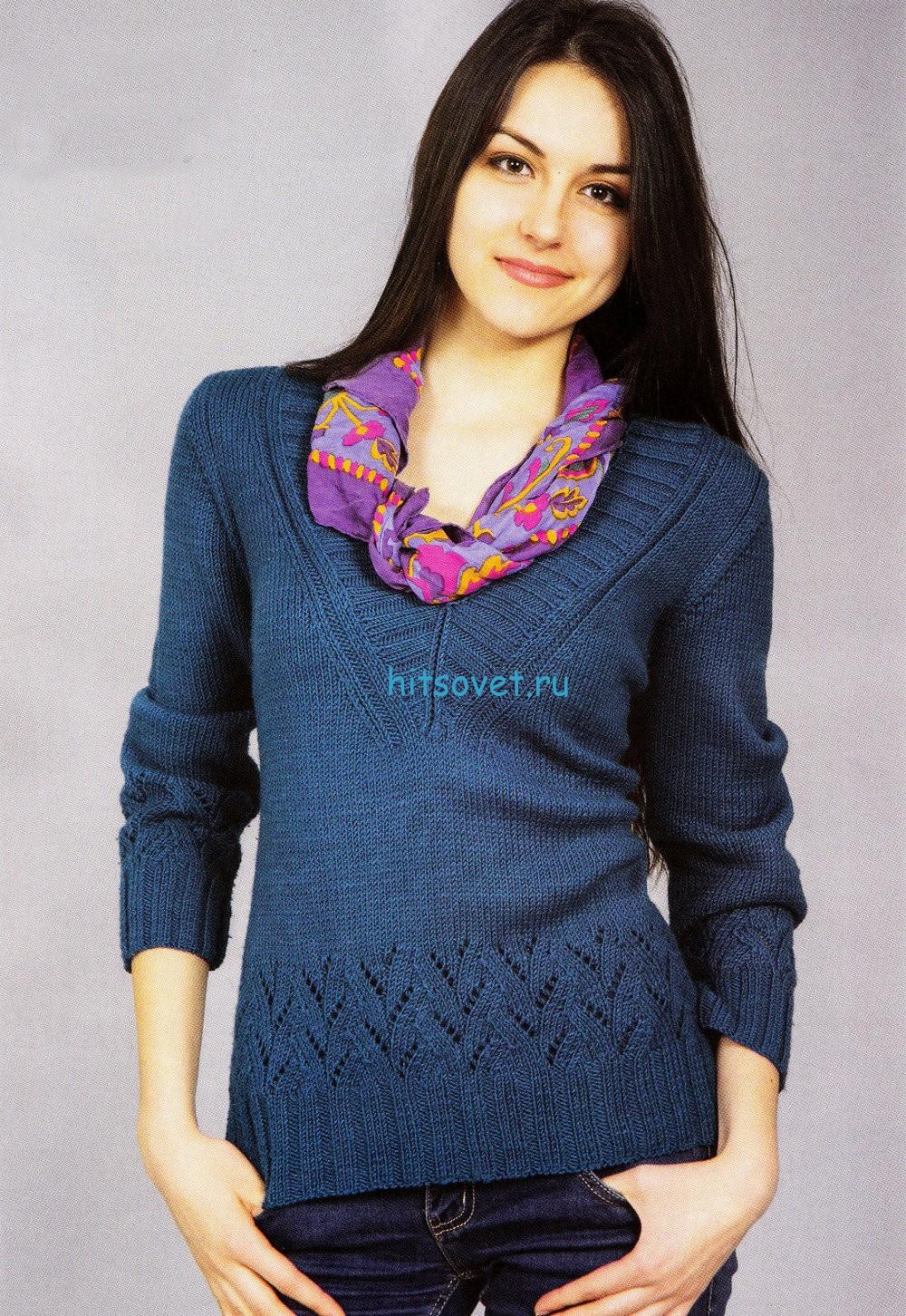 Женский пуловер спицами с ажурными узором