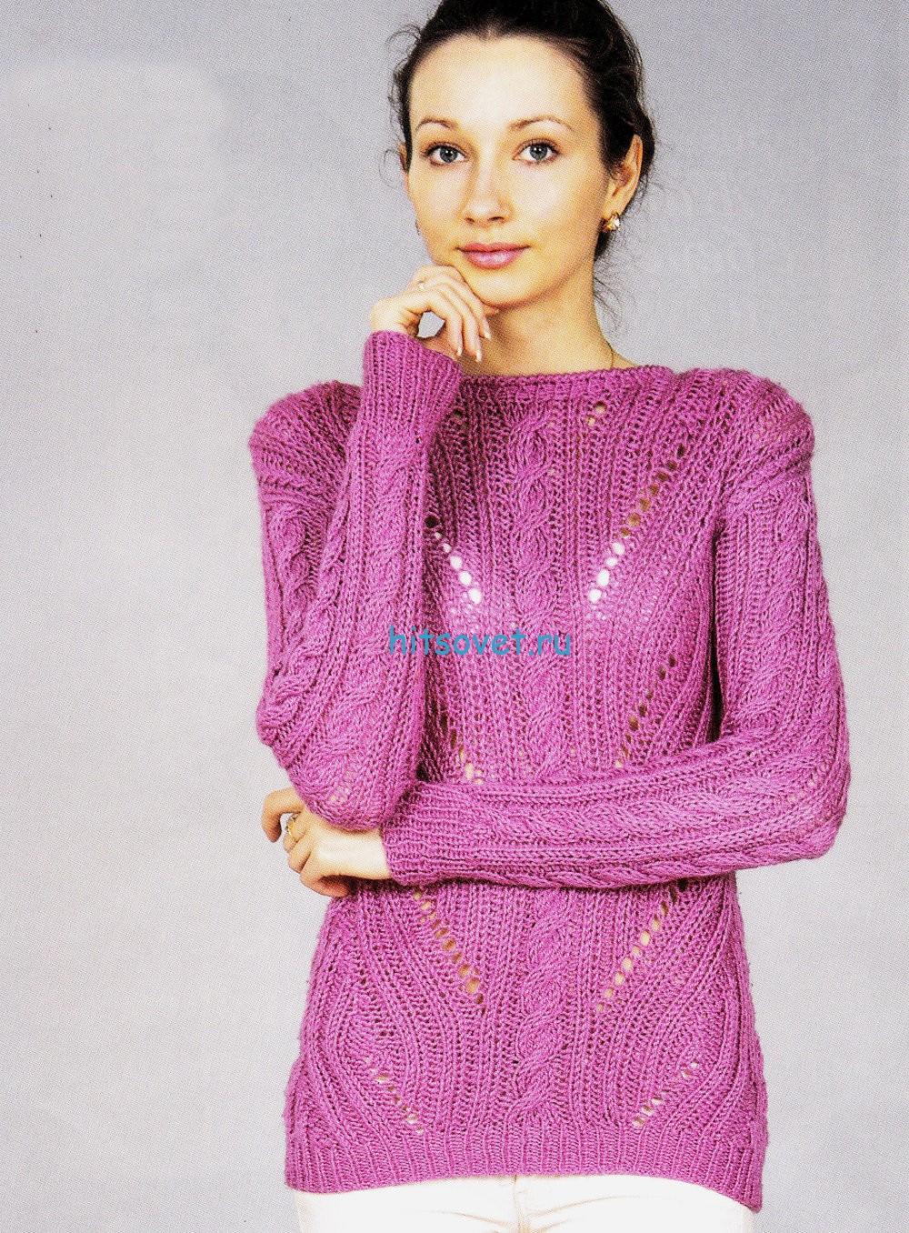 Розовый пуловер круговыми спицами