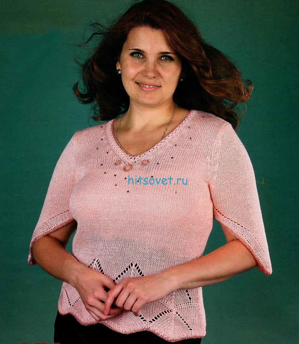 Вязание женского пуловера персикового цвета