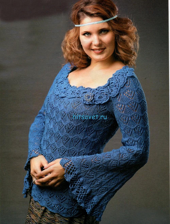 Ажурный вязаный пуловер для женщин