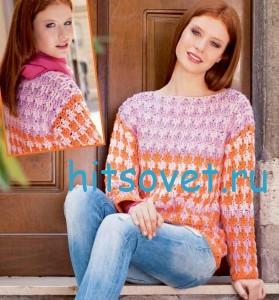 Вязание пуловера толстым крючком