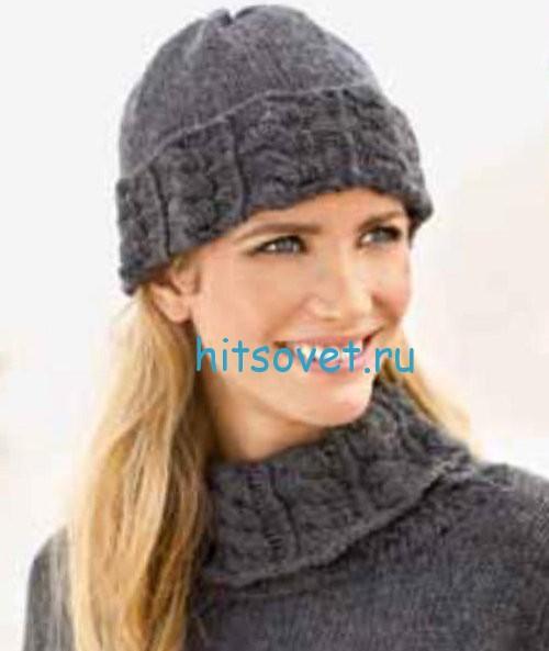 Вязаный свитер и шапка спицами, фото 2.