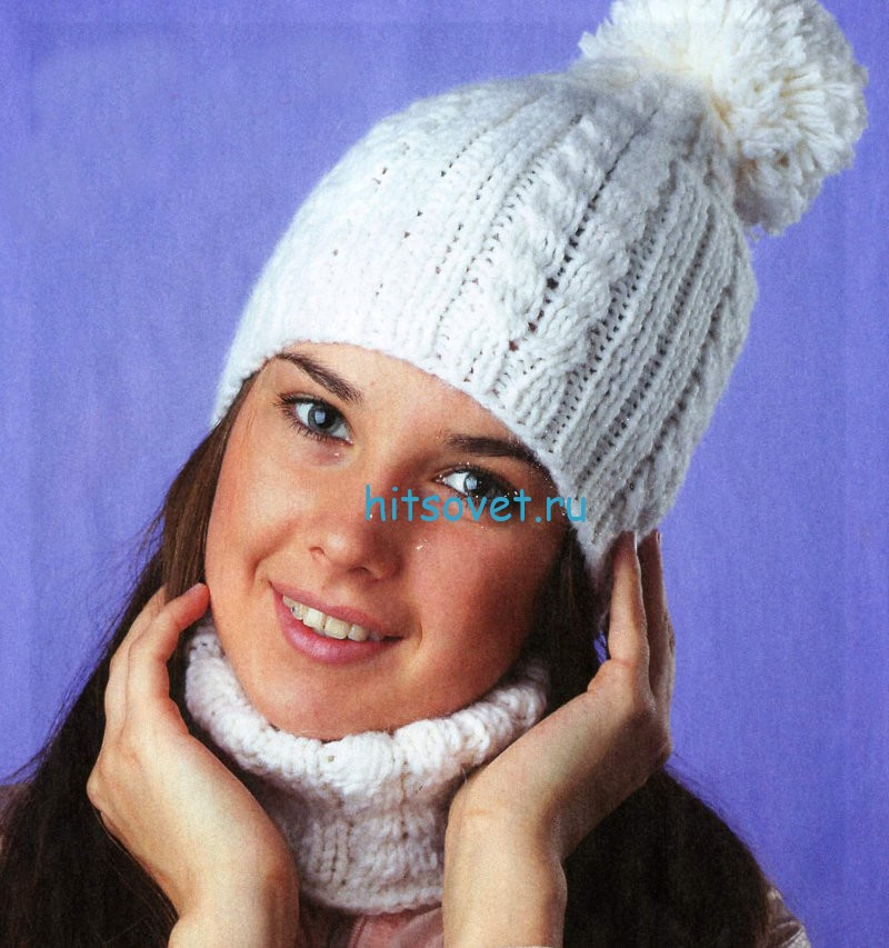 Белая шапка с косами и манишка