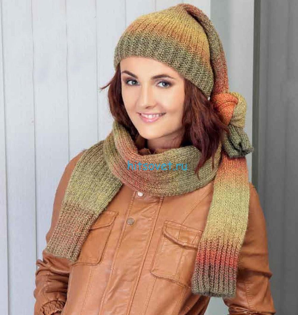 Вязаная шапка и шарф-шраг, фото.