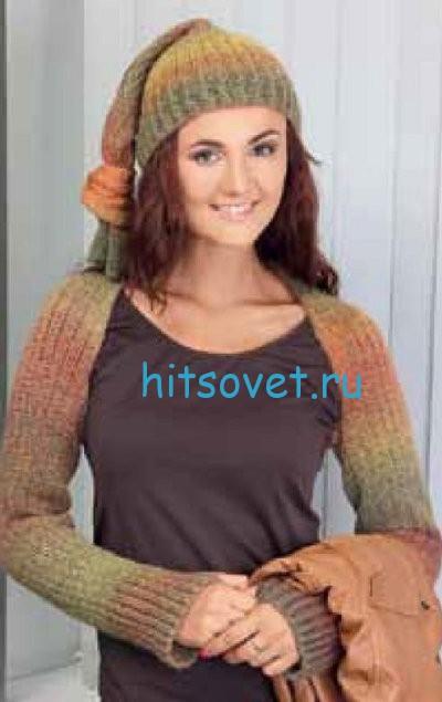 Вязаная шапка и шарф-шраг, фото 2.