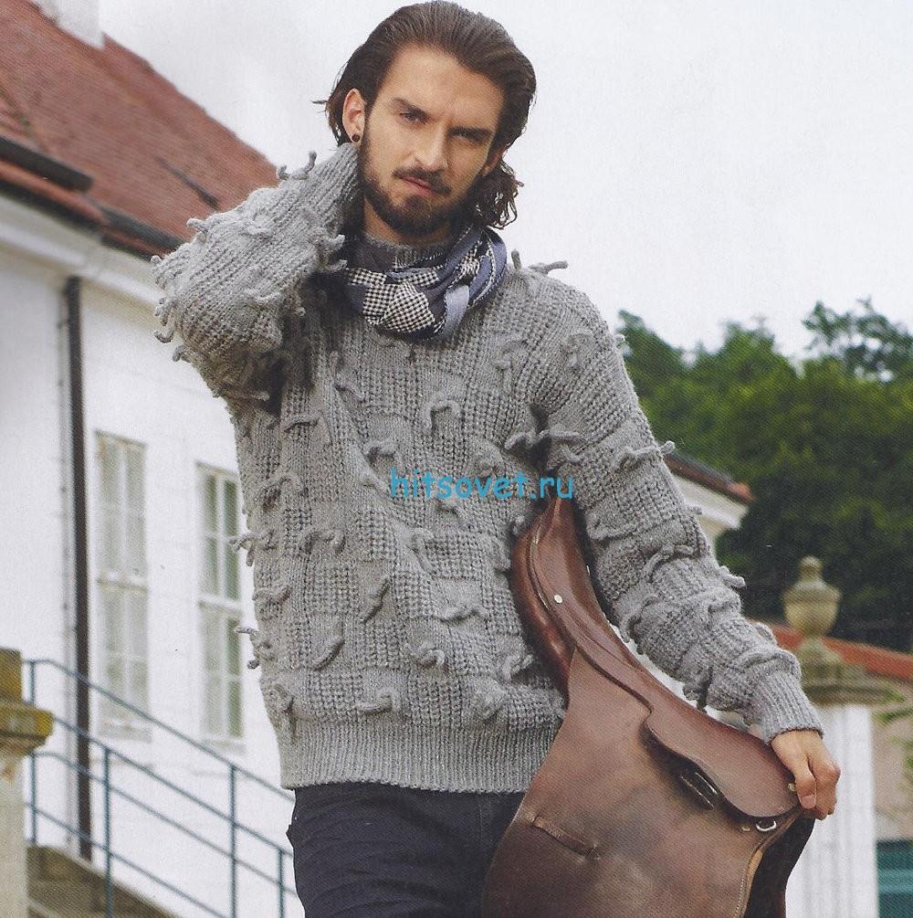 Мужской свитер спицами с шахматным узором