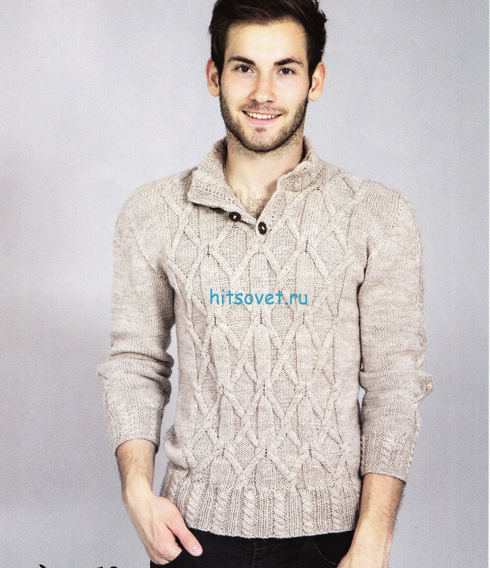 Узорчатый мужской свитер спицами