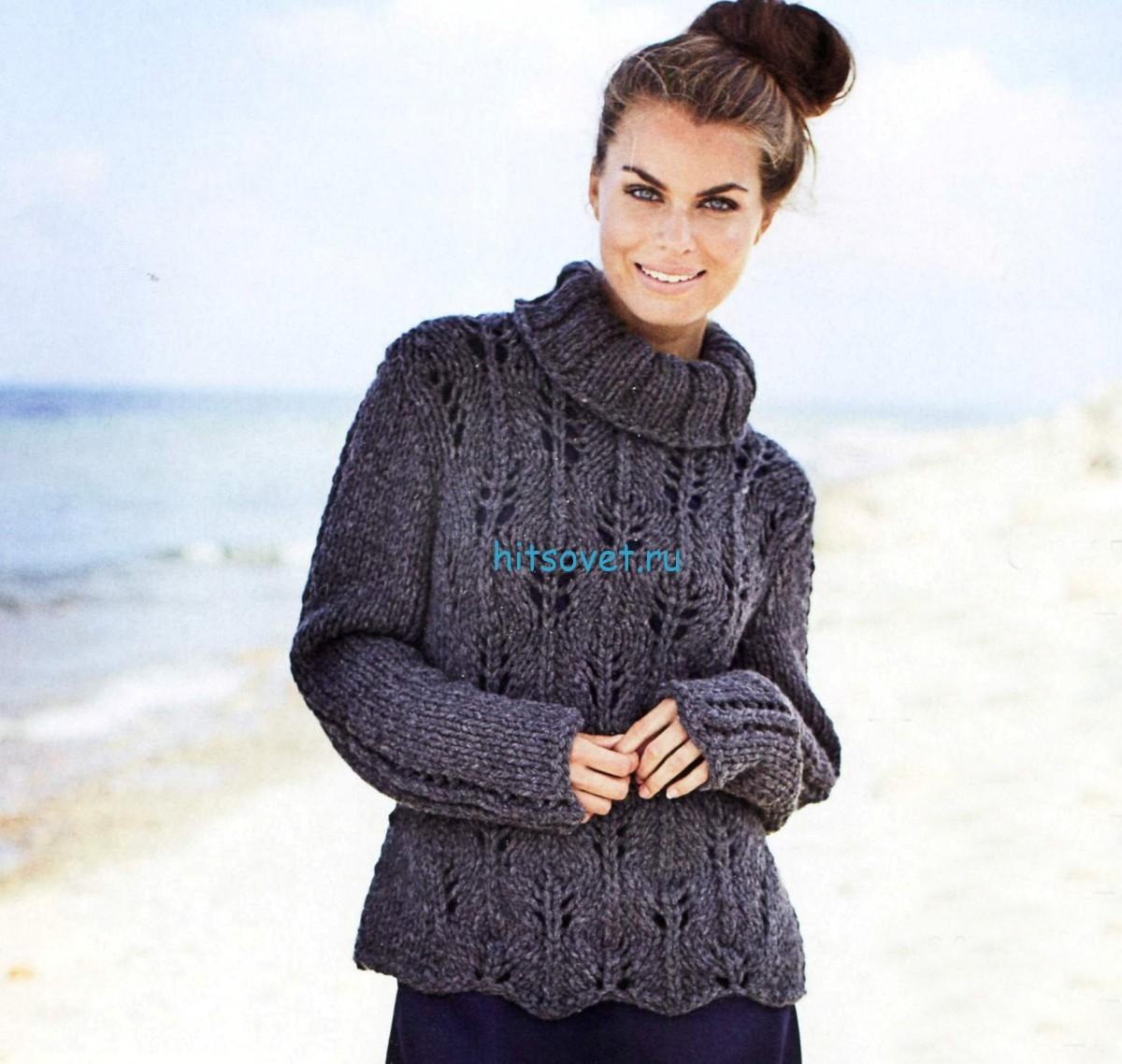 Вязаный свитер для женщин с ажурным узором, фото.