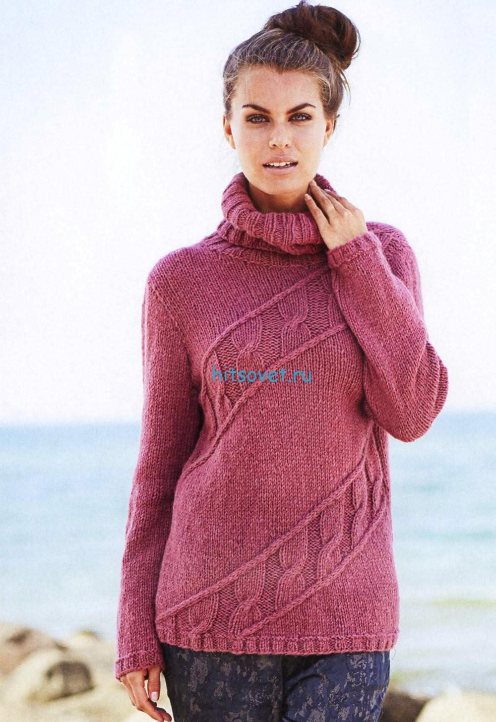 Розовый женский свитер со схемой, фото.