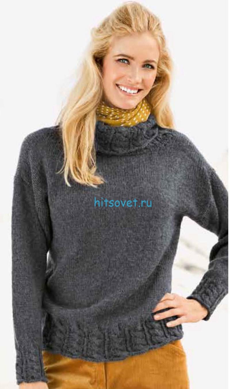 Вязаный свитер и шапка спицами