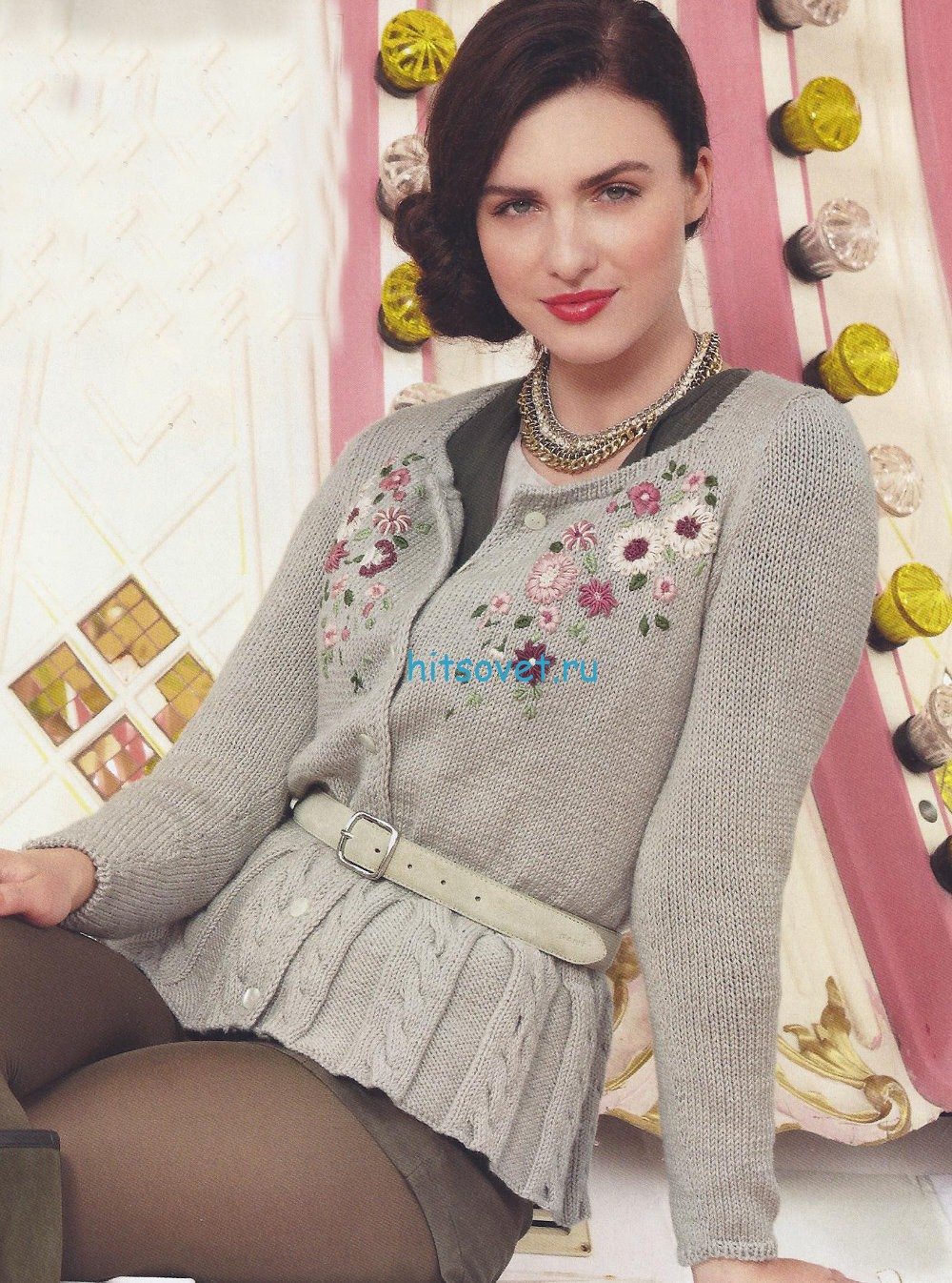 Вязание жакета для женщин с вышивкой