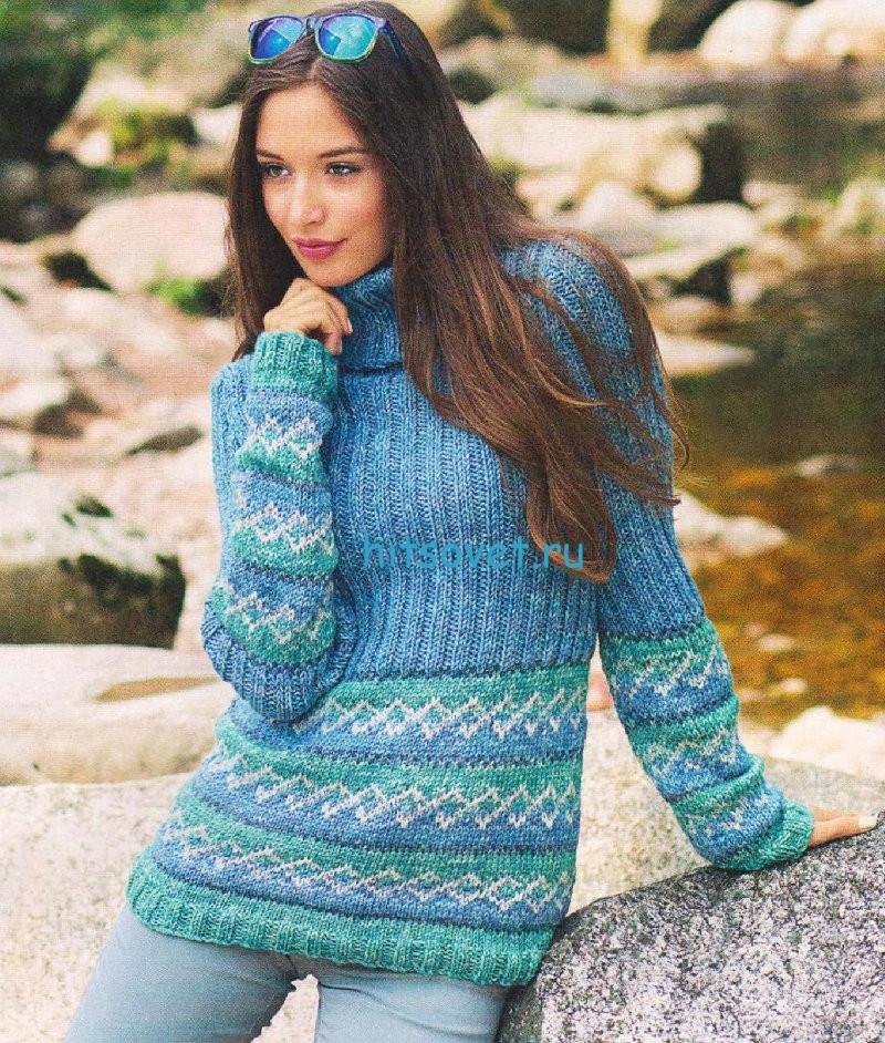 Вязаный пуловер с жаккардовым узором