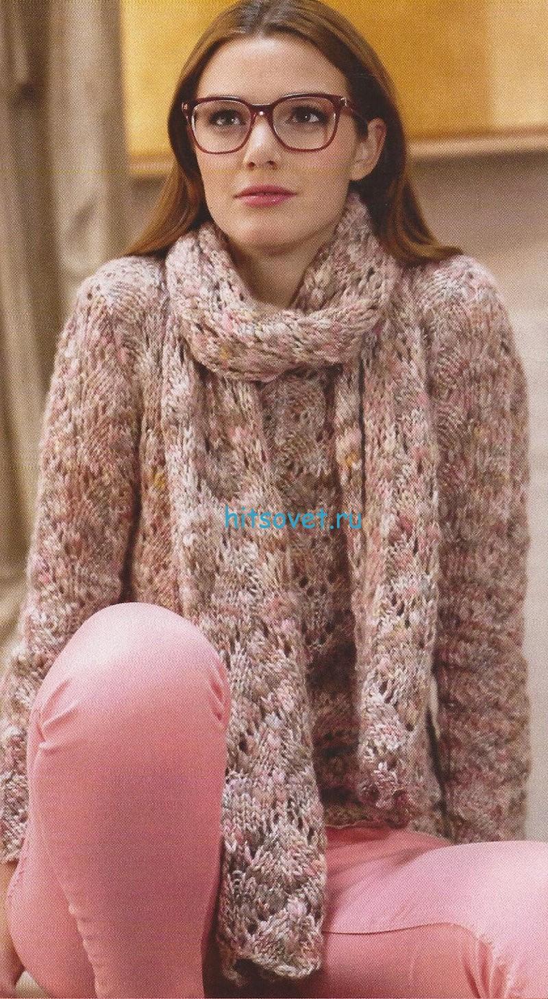 Вязаный джемпер и шарф спицами