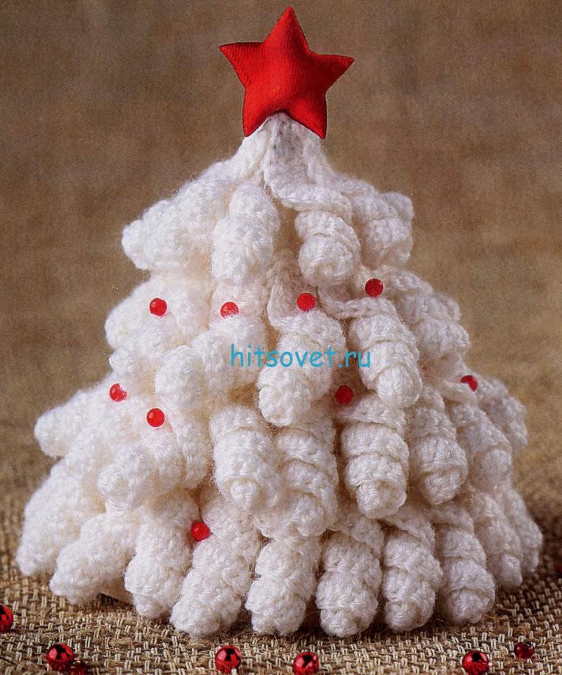 Вязание новогодней елочки крючком