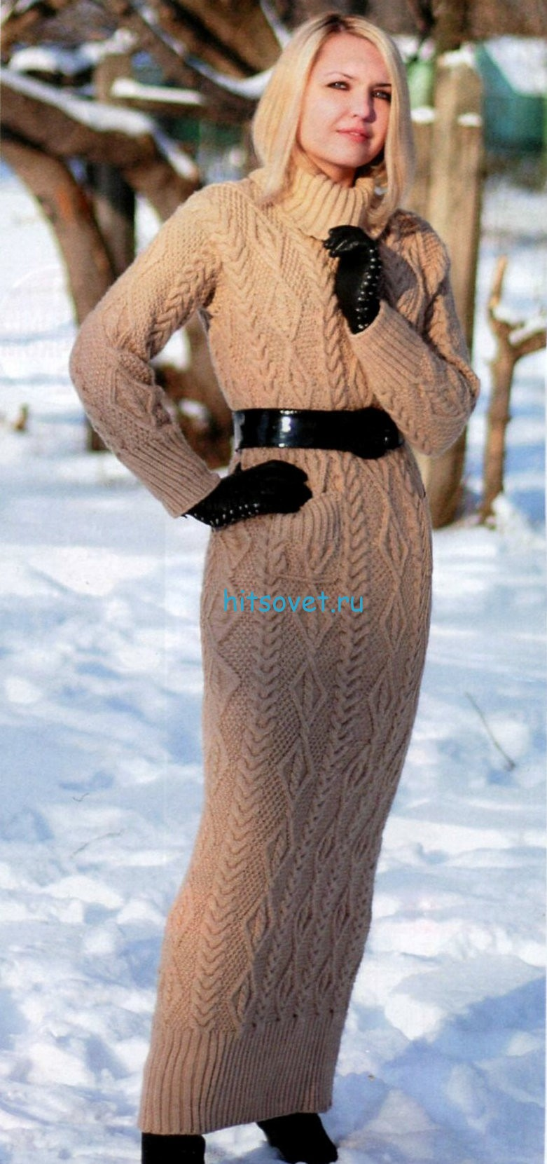 Длинное вязаное платье
