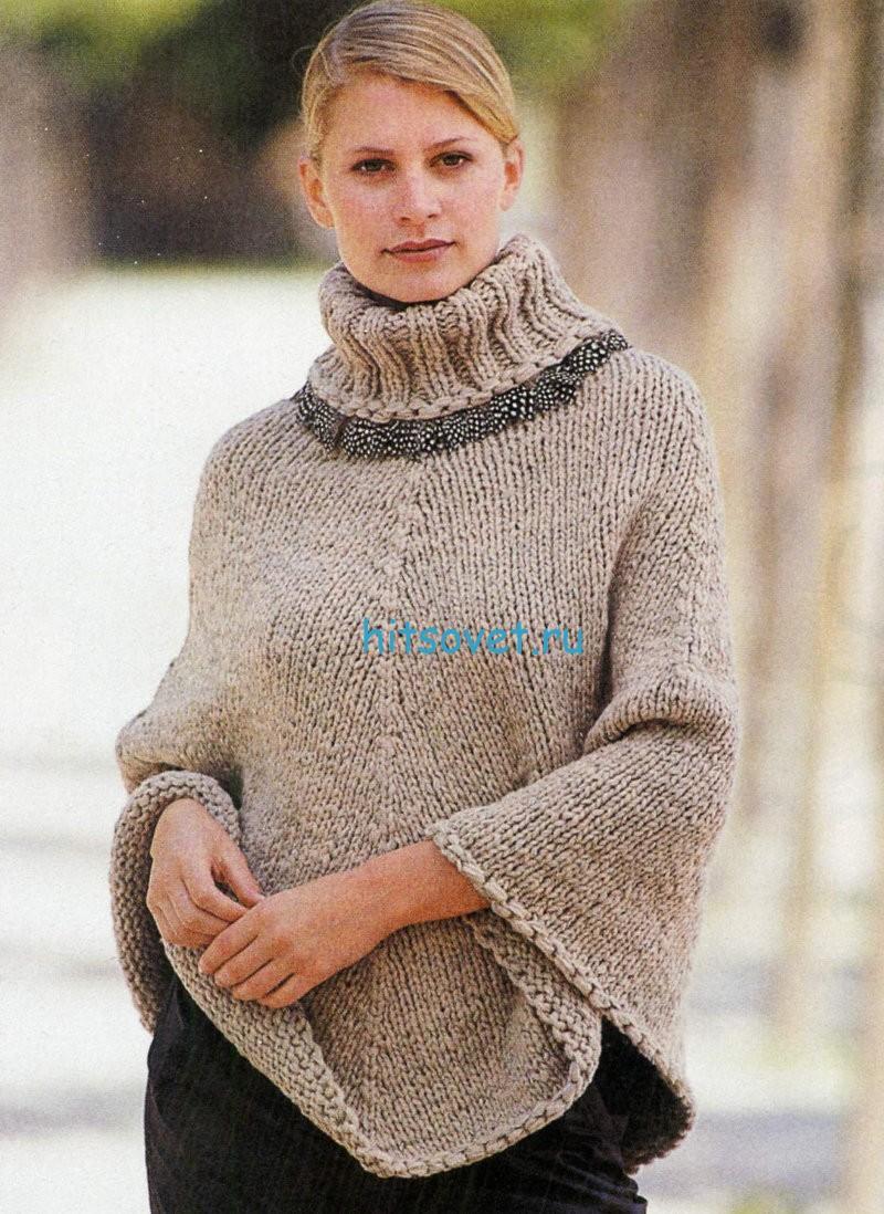 Вязание пончо с мехом