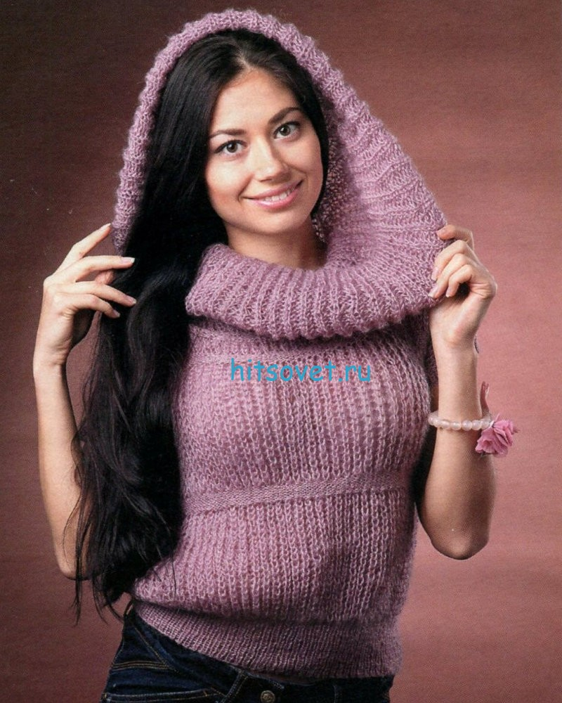Вязание пуловера с объемным воротником
