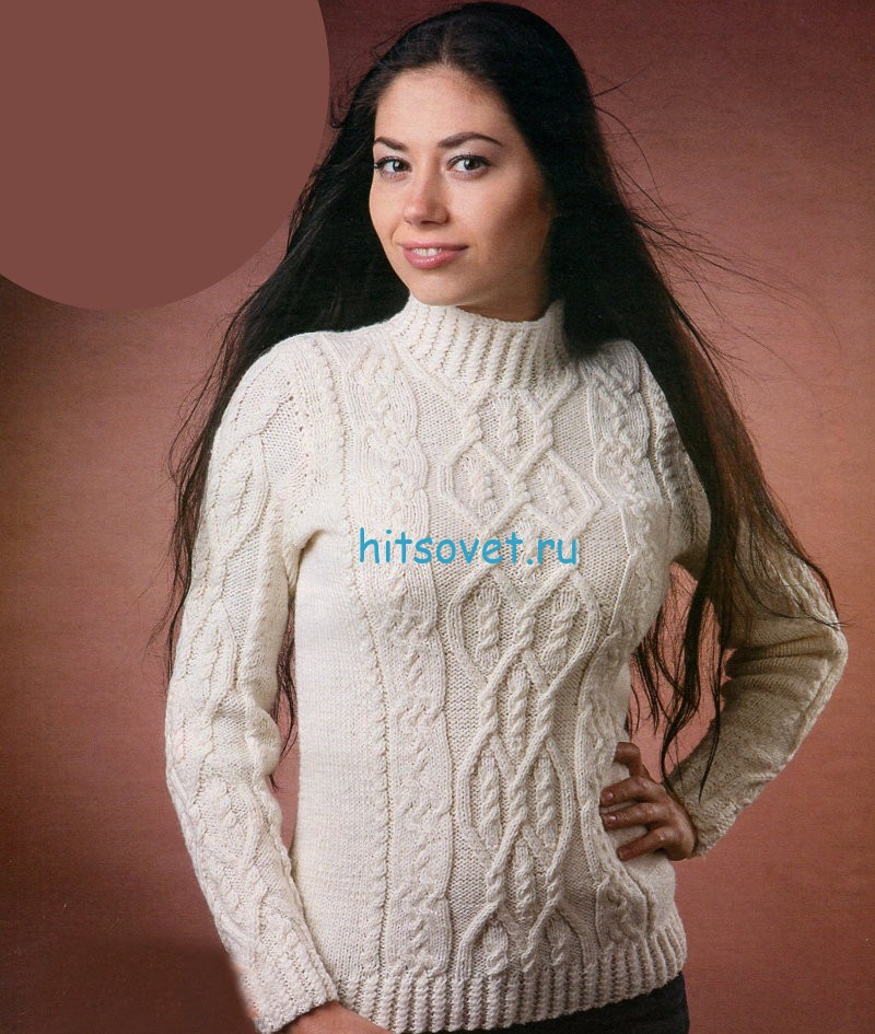 Белый пуловер с косами схемы
