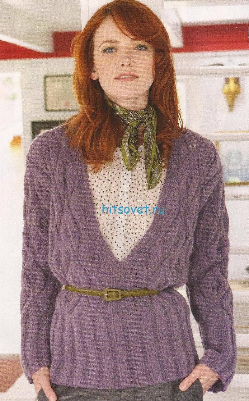 Пуловер с глубоким V-образным вырезом