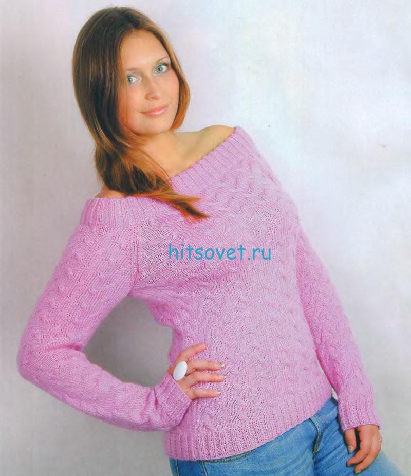 Розовый пуловер с широкой горловиной