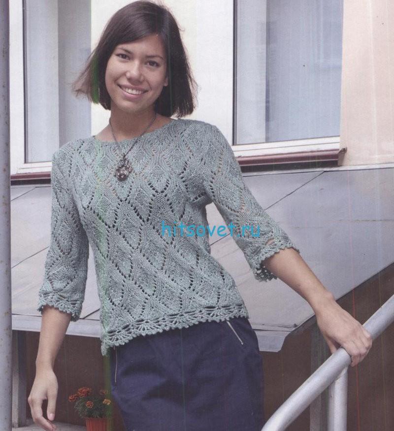 Вязание пуловера с кружевными планками