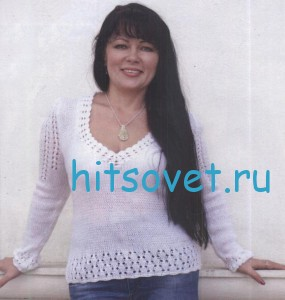 Белый вязаный пуловер из пряжи ангора