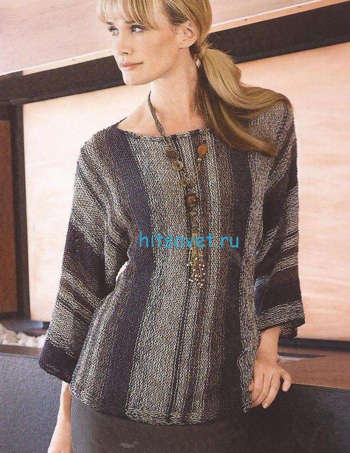 Женский свободный пуловер спицами