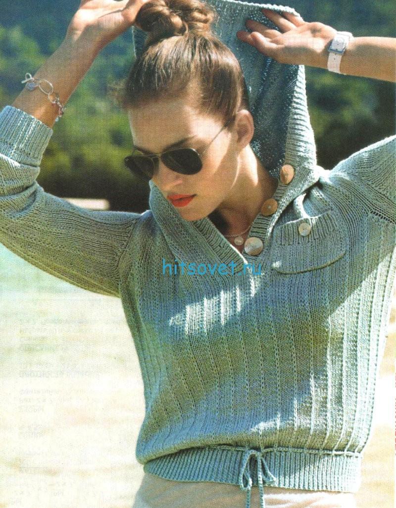 Вязание короткого пуловера с капюшоном