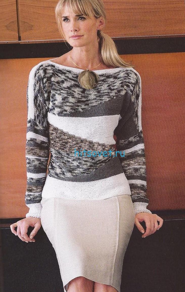 Стильный женский пуловер спицами