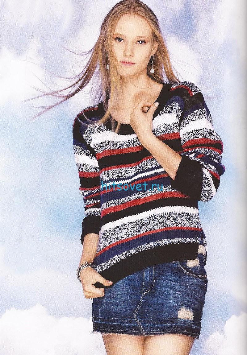 Полосатый женский пуловер спицами
