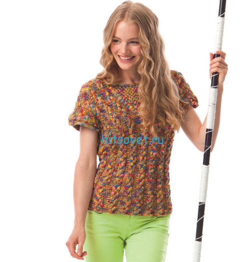 Вязание пуловер с коротким рукавом