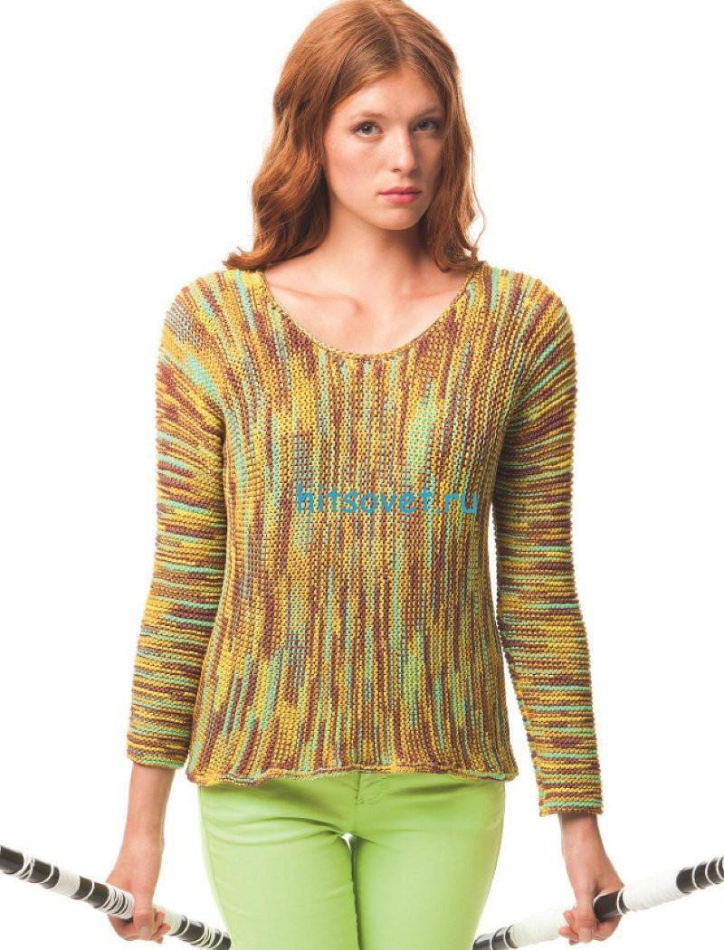 Вязание пуловера спицами поперек