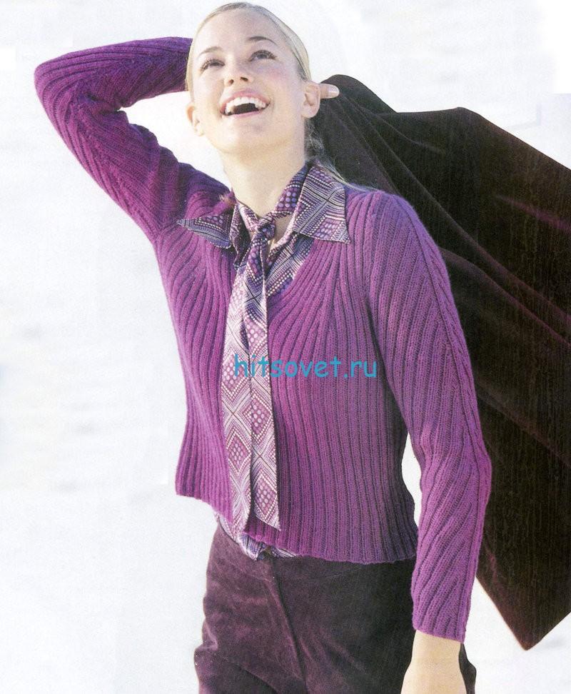 Модный пуловер женский спицами