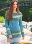 Вязаный пуловер с жаккардовыми полосами