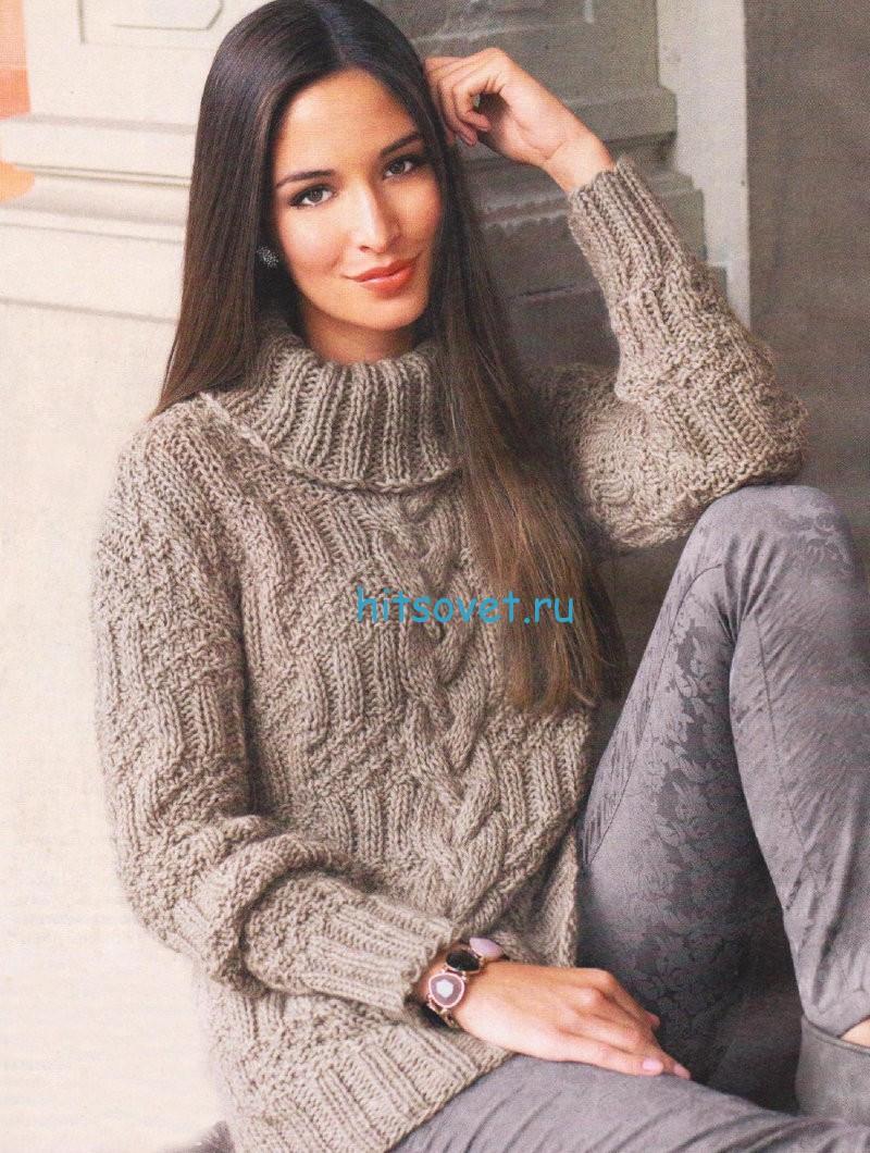 Вязание свитера с косами и рельефным узором, фото.