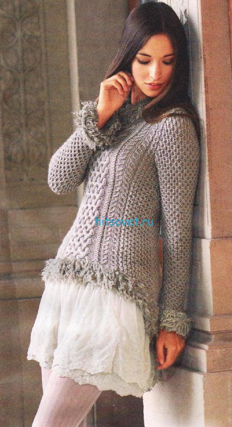 Узорчатый пуловер с косами схема