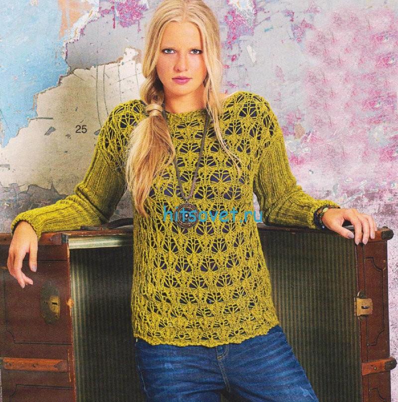 Ажурный пуловер схема вязания