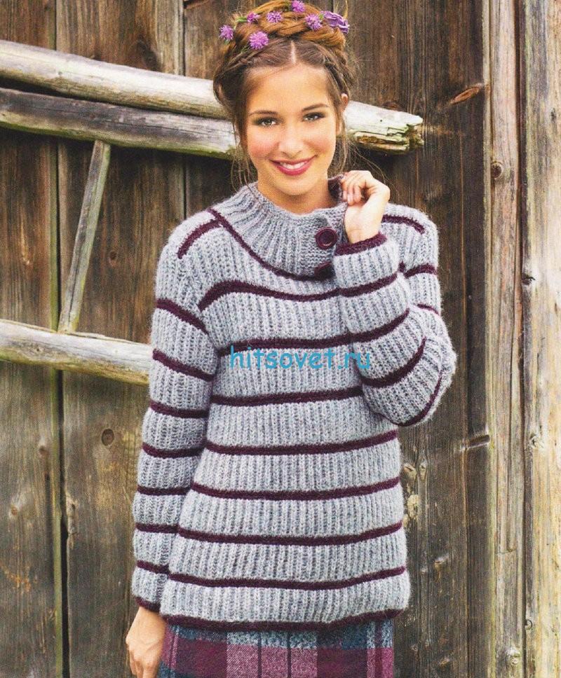 Вязание пуловера патентным узором