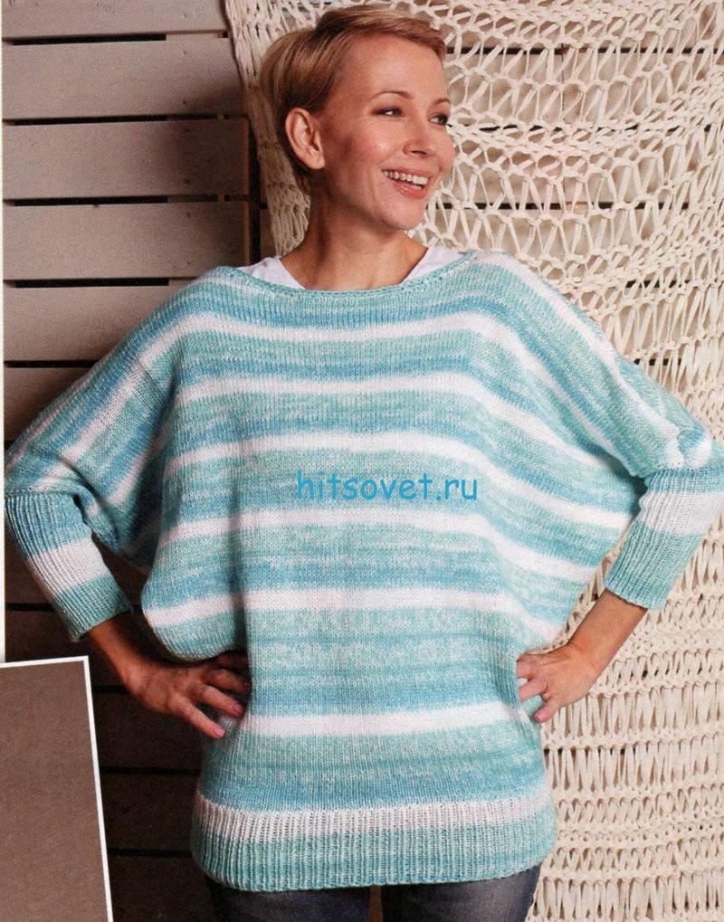 Вязание пуловера с диагональными полосками