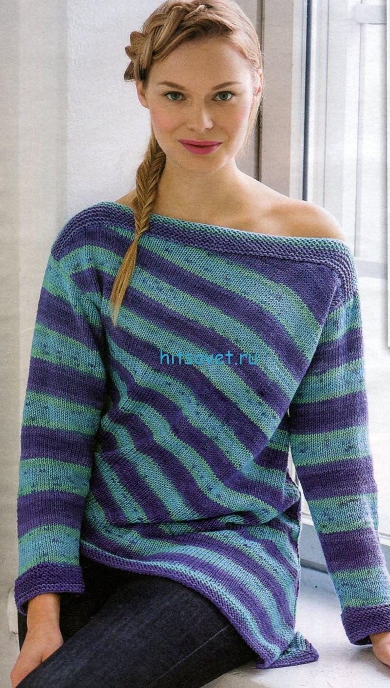 Вязание пуловера со скошенным краем