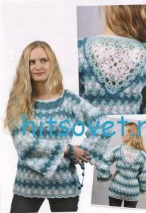 Ажурный трехцветный пуловер крючком