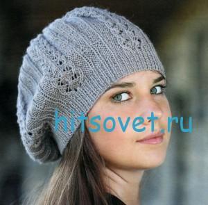 Вязание серой шапки спицами